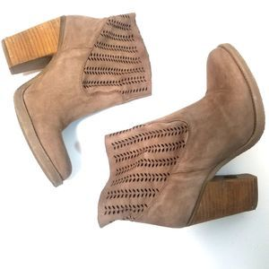 Coolway Avaly Taupe Suede Heeled Ankle Booties
